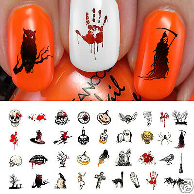 Halloween Nail Art Decals Waterslide Decals Set #4](Halloween Nail Arts)