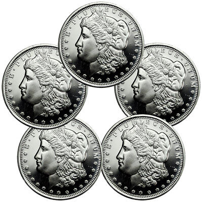 Lot of 5 - Highland Mint Morgan Dollar Design 1/2 oz. Silver Round USA SKU47768