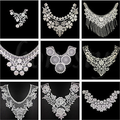 Embroidered Neckline (1PCS White Lace Embroidered Neckline Neck Collar Trim Clothes Sewing Applique )