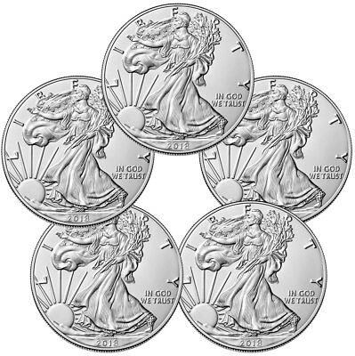 Купить Lot of 5 Coins - 2018 American Silver Eagle $1 GEM BU Coin PRESALE SKU51560