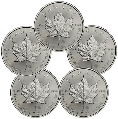 Lot Of 5   2018 Canada 1 Oz Silver Maple Leaf  5 Coins Gem Bu Coins Sku49794