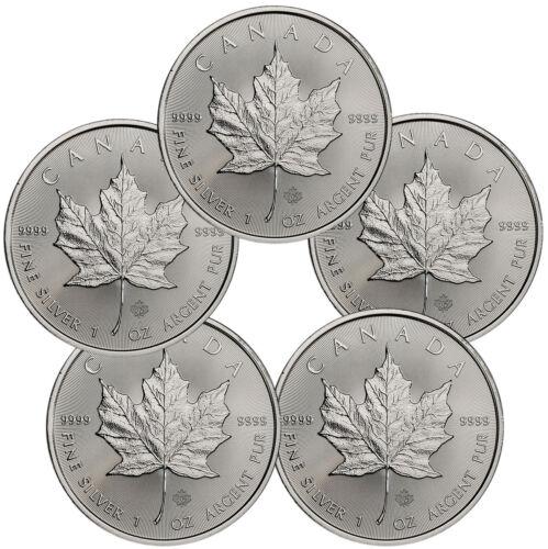 Lot of 5 2019 Canada 1 oz Silver Maple Leaf $5 Coins GEM BU SKU55536