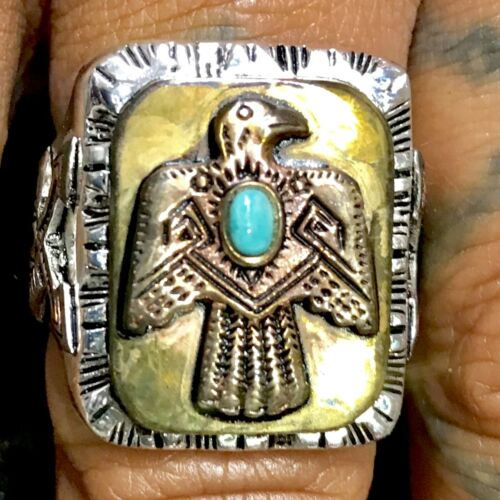 1930s 40s 50s 60s Native American Turquoise Indian Thunderbird Ring Vintage