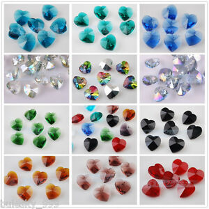 10pcs-14mm-Heart-Crystal-Glass-Charms-Faceted-Loose-Spacer-Bead-Pendant-Findings