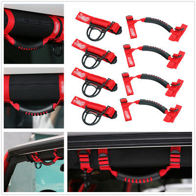 4 pcs Red Roll Bar Grab Handles 4WD Off Road Accessories Jeep Wrangler JK TJ CJ