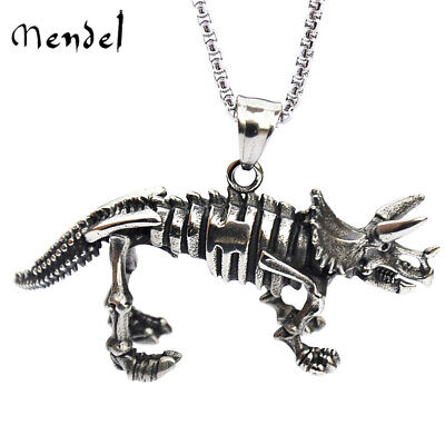 MENDEL Triceratops Skeleton Dinosaur Necklace Pendant Stainless Steel Jewelry