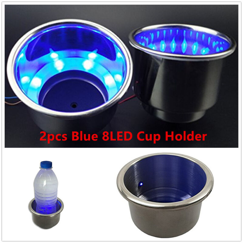 12V Blue 8 LED Light 2pcs Stainless Steel Car Marine Boat Cup Drink Cup Holder