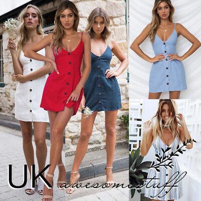 UK Womens Plunge Bardot Button Mini Dress Ladies Summer Slip Sun Dress Size 6-16 Mini Womens Slip