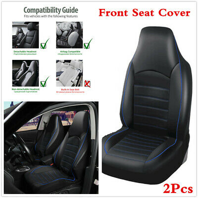 Black With Blue Line PU Leather Car Front Seat High Back Bucket Cover Cushions