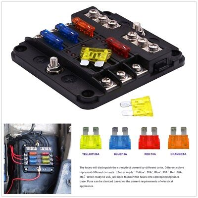 NEW 6-Circuit Blade Fuse Block Box Case For Car Truck Boat Marine Bus RV Van for sale  China