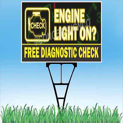 18x24 Engine Light Outdoor Yard Sign Stake Sidewalk Free Diagnostic Check