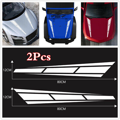 12*80cm White Racing Sport Stripe Graphics Decal Stickers For Car Hood Bonnet