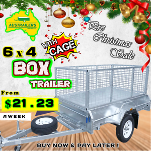 6x4 Hot Dip Galvanized Heavy Duty Box Trailer with Cage!