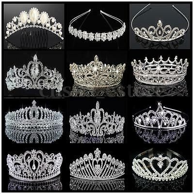 US Bridal Wedding Prom Crystal Flower Tiara Crown Pearl Rhinestone Hair Headband (Pearl Tiara)