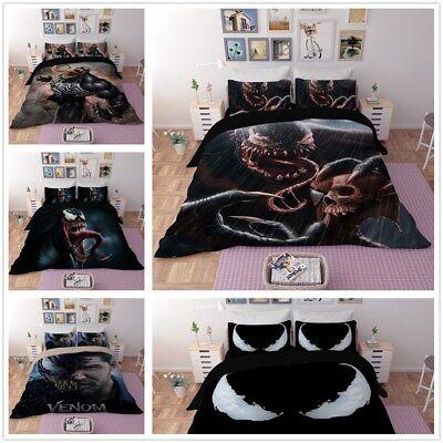 3D Venom Quilt Cover Kids Bedding Set Pillowcase Halloween Duvet Cover Set 3pcs