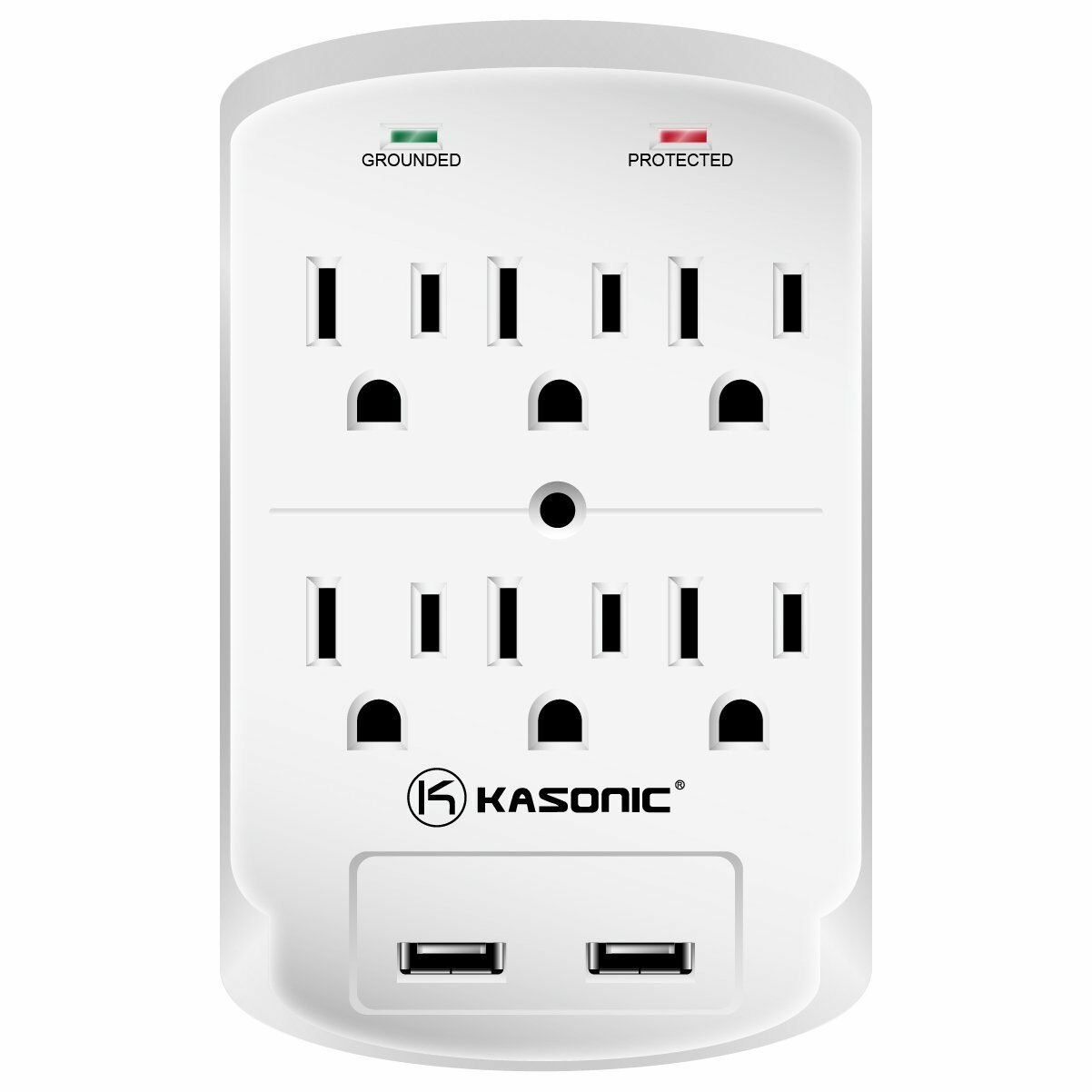 Wall-Mount Power Outlet, Kasonic 6 AC Socket Surge Protector