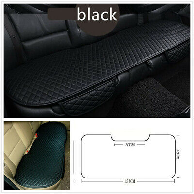 Black PU Leather Car Rear Row Long Seat Cover Pad w/Side Pocket Anti-Skid Fixed