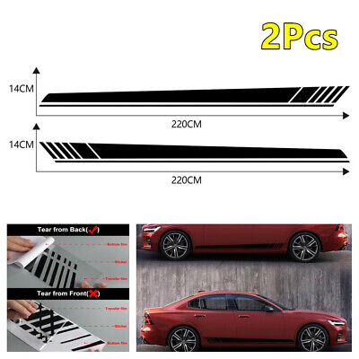 Car Side Body Doors Racing Long Strip Vinyl Graphic Decorative Decals Sticker