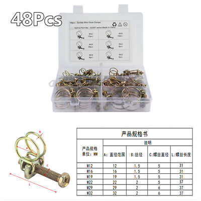 Boxed 48Pcs 6 Sizes Double Wire Hose Clips Fuel Air Pipe Screw Bolt Tight Clamps