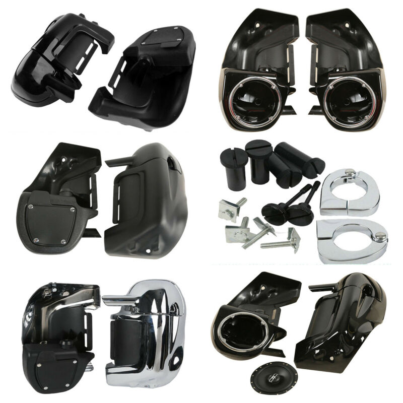 HECASA Black Pair Lower Vented Leg Fairing Fit For 1983-2013 Harley Touring Road King Electra Glide