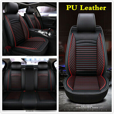 Universal Full Set Luxury PU Leather Car Seat Covers Cushions For 5-Seats Car