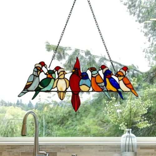 Stained Glass Window Panel Holiday Santa Birds On Wire Sun Catcher Wall Hanging
