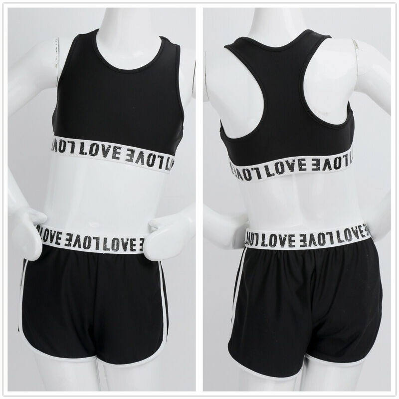 Agoky 2PCS Kids Girls Ballet Dance Athletic Outfit Letter Printed Sleeveless Racer Back Tanks Crop Top with Bottoms Set