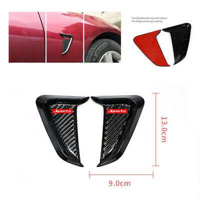 2X Car Side Body Fender Air Wing Vent Trim Cover Decoration ABS Black Sticker