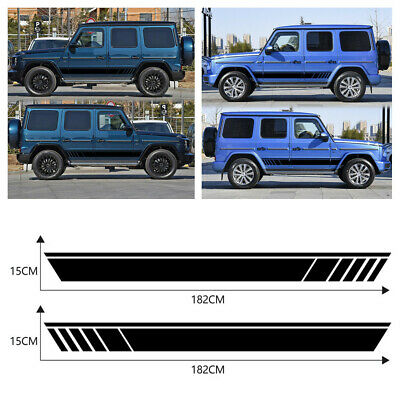 2Pcs Car Side Body Door Racing Striped Vinyl Graphic Decorative Decals Sticker