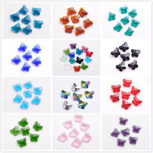 40pcs-Charms-Butterfly-Earring-Finding-Pendant-Loose-Glass-Crystal-Beads-14mm