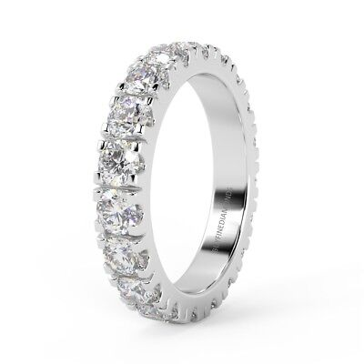 3.00 Ct Round Diamond Micro Pave Full Eternity Ring, UK Hallmarked Platinum