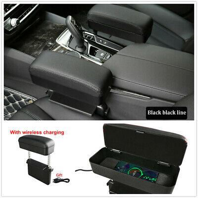 Universal Car Seat Gap Install Armrest Storage Box w/Wireless Charging Function