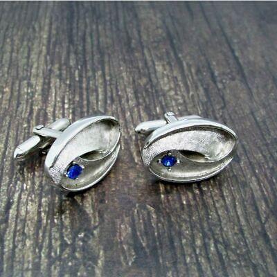 Blue Rhinestone Silver Tone Scroll Vintage Swank Cuff Links Simple Classy EUC