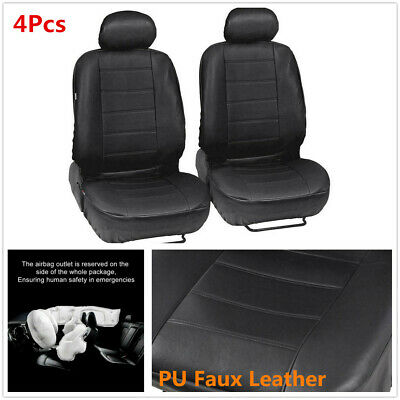 PU Leather Car Front Seat Cushion Airbag Compatible + Separate Headrest Cover