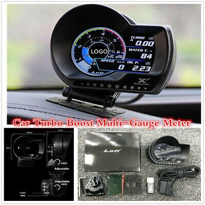 Car OBD2 Turbo Boost Gauge Oil Pressure Water Temp Fuel Level Speed Alarm System