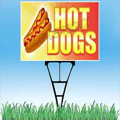 18x24 Hot Dogs Outdoor Yard Sign Stake Sidewalk Lawn Chili Beef Foot Long