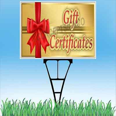 "18""x24"" GIFT CERTIFICATES Outdoor Yard Sign & Stake Lawn Hol"