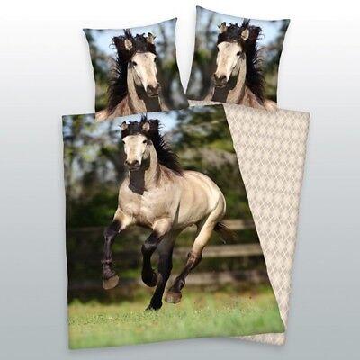 Bettwäsche Pferde Motiv 80 x 80 cm + 135 x 200 cm Biber/ Flanell