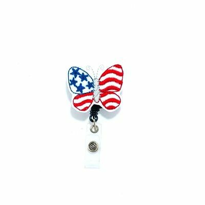 Patriotic Butterfly Badge Reel Holder Clip Flag Name Tag ID Pull Charm Cover