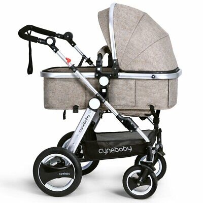 Infant Toddler Baby Stroller Carriage Cynebaby Compact Pram Strollers(Khaki)