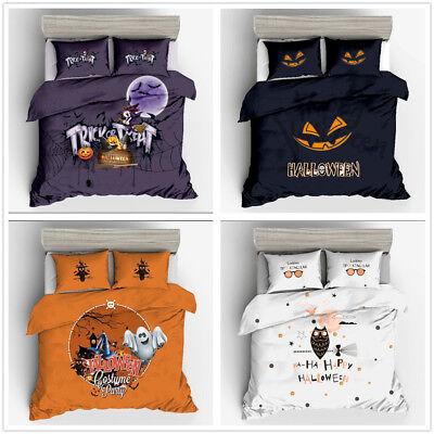 3D Halloween Kids Bedding Set Witch Ghost Owl Skull Duvet Cover Set Pillow case