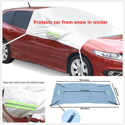 Car Snow Protect Cover Front Windshield Side Rearview Mirror Protector Tarp Flap