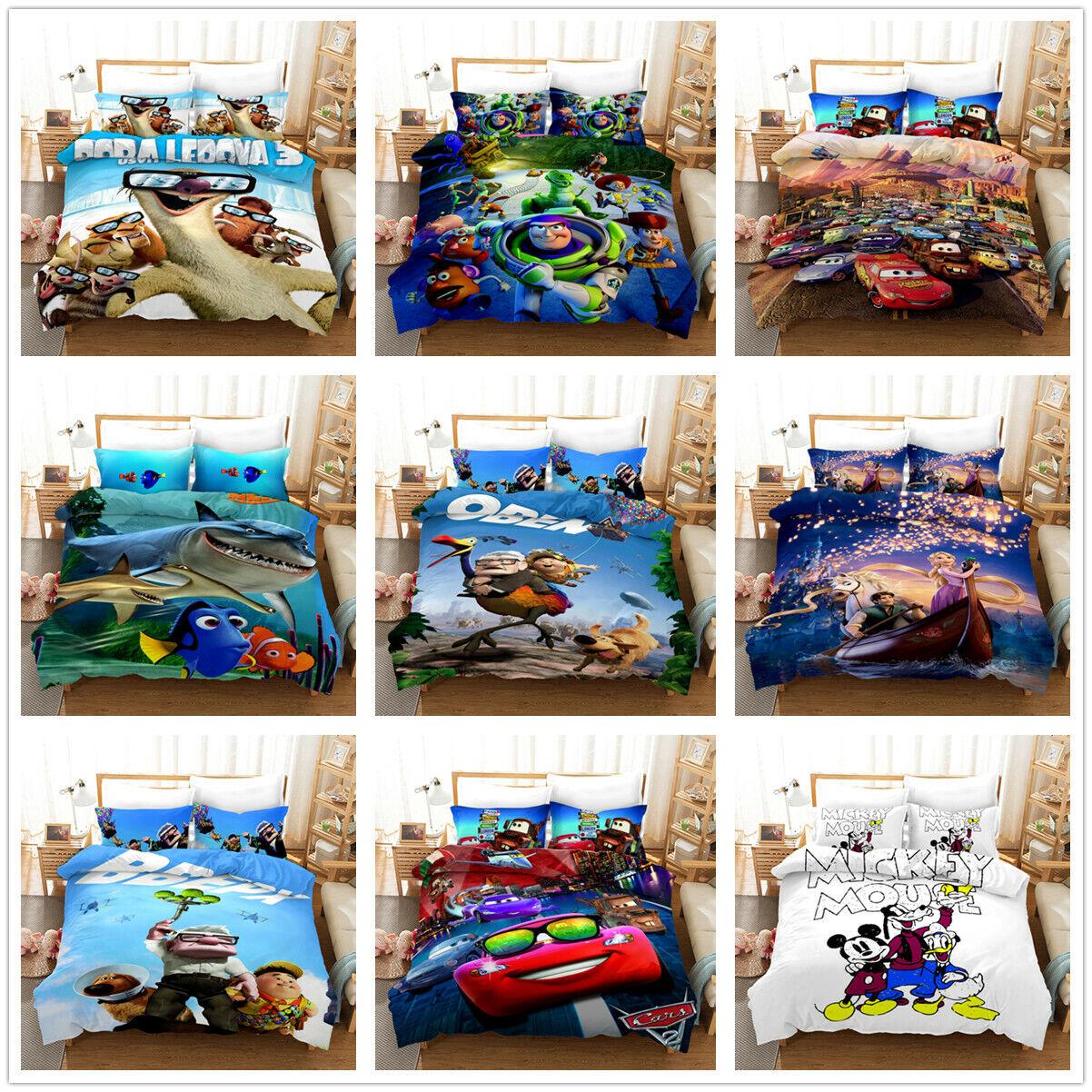 3D Anime Bedding Set Car Disney Pokemon Duvet Cover Pillowca