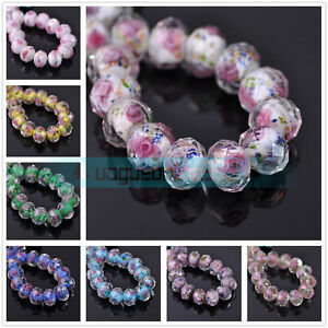 Hot-10pcs-12mm-Flower-Inside-Faceted-Rondelle-Loose-Lampwork-Glass-Spacer-Beads
