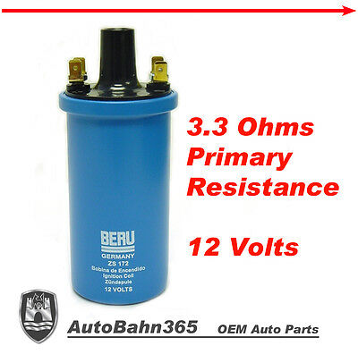 New BERU Ignition Coil VW Beetle Bus Porsche 912 BMW 2002 Volvo 144 12V -