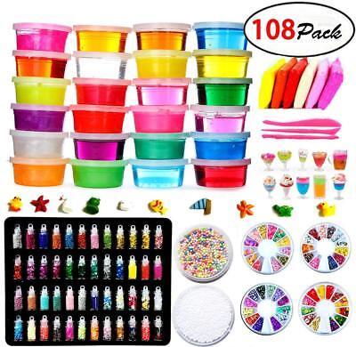 DIY Fluffy Slime Kit – 24 Colors Slime Kits for Girls Boys Toys with 48 Glitter