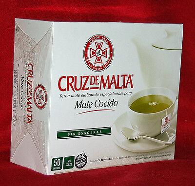 YERBA MATE TEA BAGS - CRUZ DE MALTA - 50 TEA BAGS - NOT INDIVIDUALLY WRAPPED