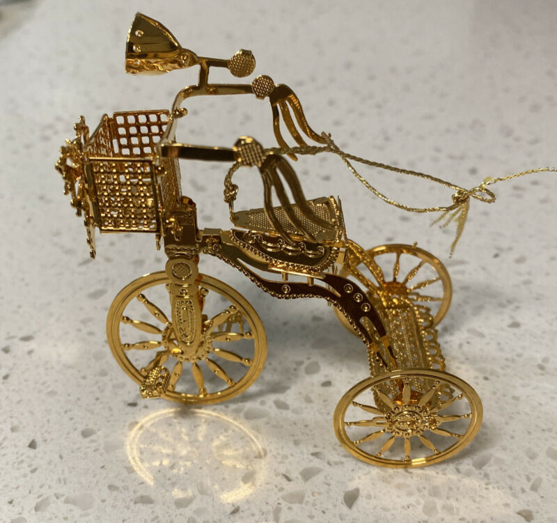 2001 Festive Tricycle Danbury Mint Electroplated W/23kt Gold Christmas Ornament