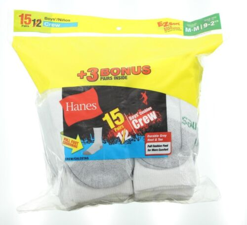 15 Pack Hanes Boys Full Cushion Foot Heel & Toe Comfort Crew Socks, White