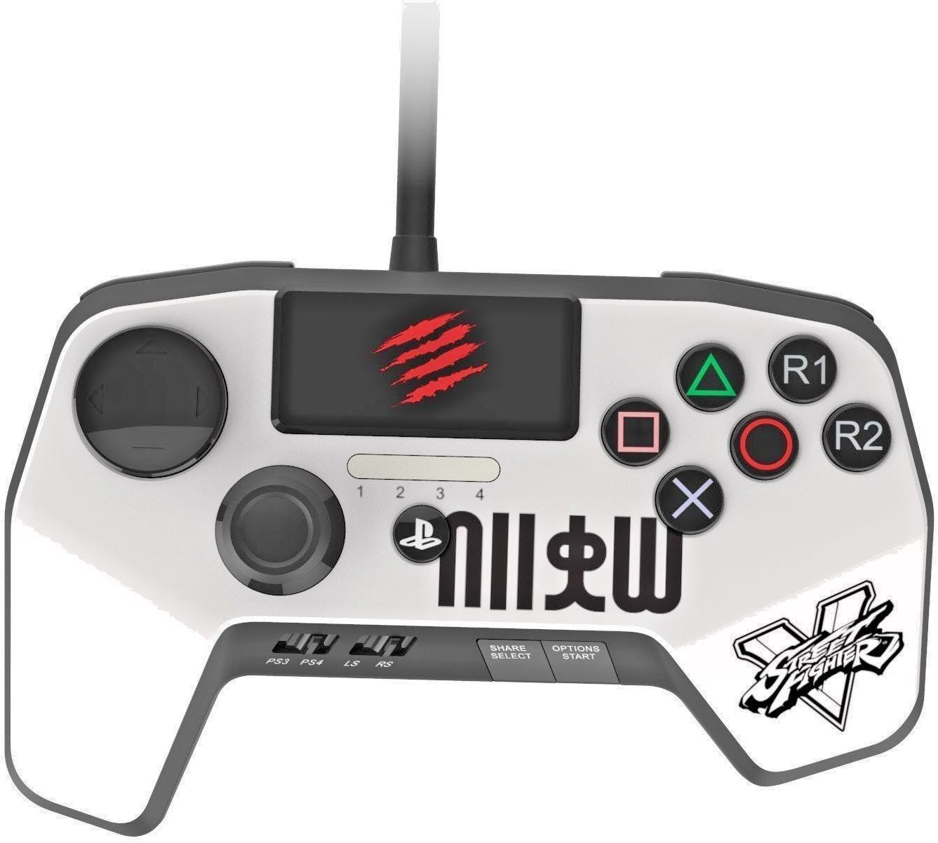 NEW IMPROVED D-PAD MAD CATZ STREET FIGHTER V FIGHTPAD PRO FOR PS4 & PS3 - WHITE